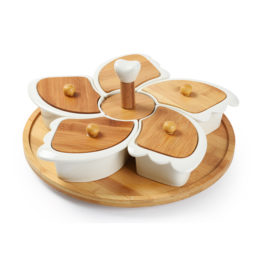 Ceramic Serving Bowl with Wooden Cover