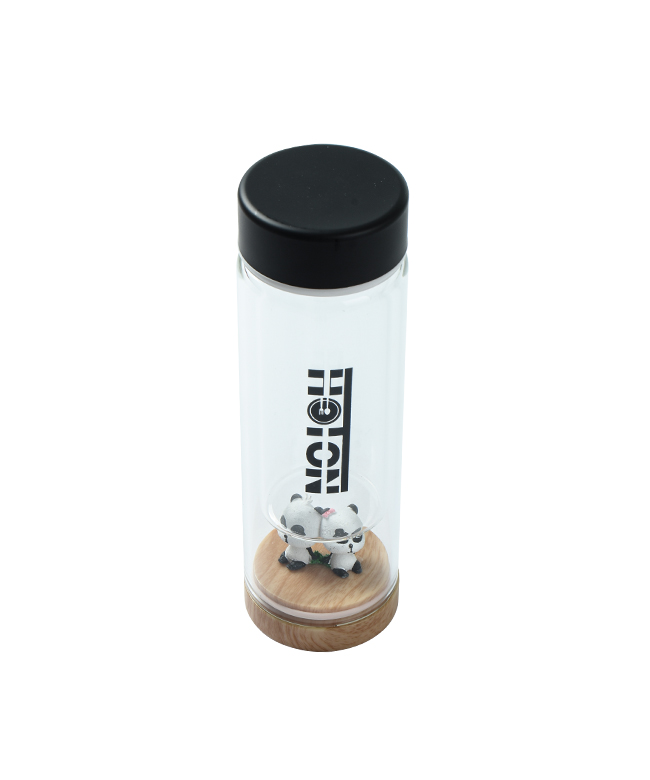 Mid-sized Panda Glass Tumbler with Wooden Bottom (Black)