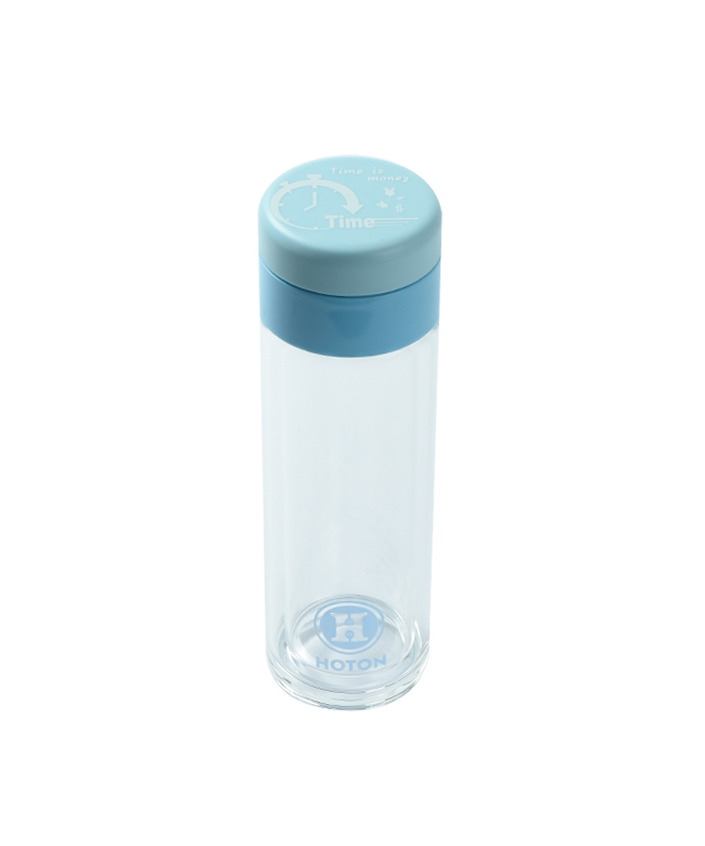 Mid-Sized Single Layer Glass Tumbler with Rotating Cover (Blue)